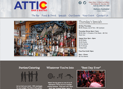 Attic Bar & Bistro Web Design