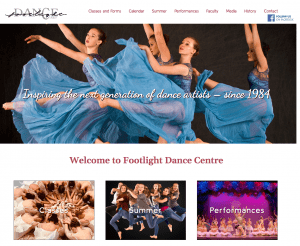 Footlight Dance Center Web Design